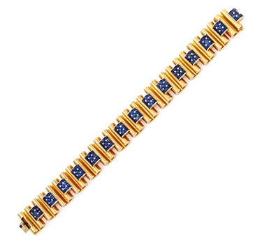 A Retro Sapphire And Gold Bracelet, By Boivin, Circa 1940