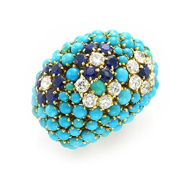 A Turquoise, Sapphire And Diamond Ring, By Van Cleef & Arpels, Circa 1960