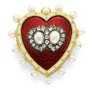 An Antique Enamel, Seed Pearl and Diamond Pin Brooch, circa 1890