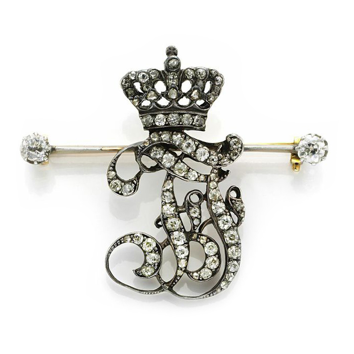 An Antique Diamond, Silver and Gold Ceremonial Pin, Austrian, circa 1900