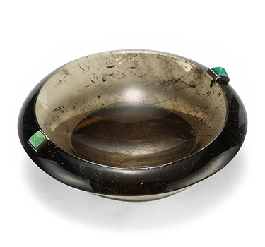 An Art Deco Quartz, Turquoise And Silver Ashtray, By Cartier, Circa 1920
