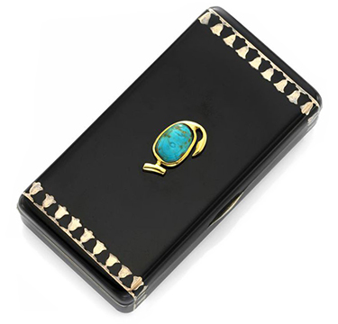 An Egypt Revival Enamel, Turquoise, Gold And Silver Cigarette Case, By Cartier, Circa 1928
