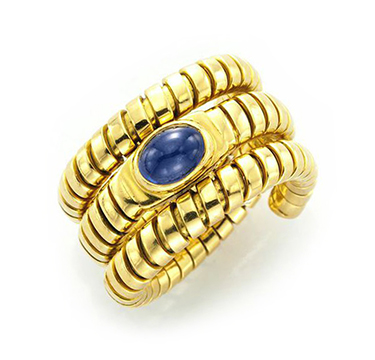 A Gold and Cabochon Sapphire Ring, by Bulgari, circa 1990