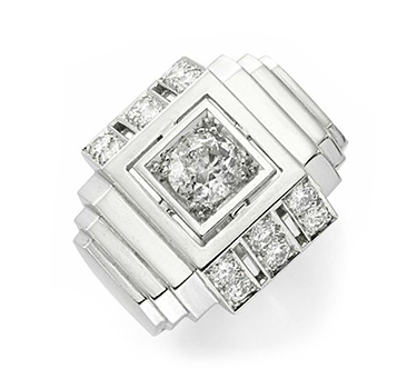 An Art Deco Diamond And Platinum Ring, By Boivin, Circa 1930