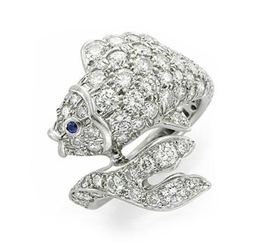 A Diamond, Sapphire And Platinum Fish Ring, By Tiffany & Co., Circa 1990