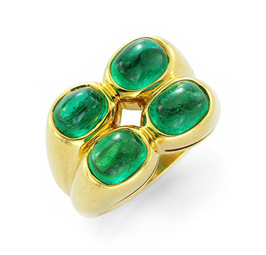 A Cabochon Emerald And Gold Ring Of Approximately 3.92 Carats, By Bulgari, Circa 1985
