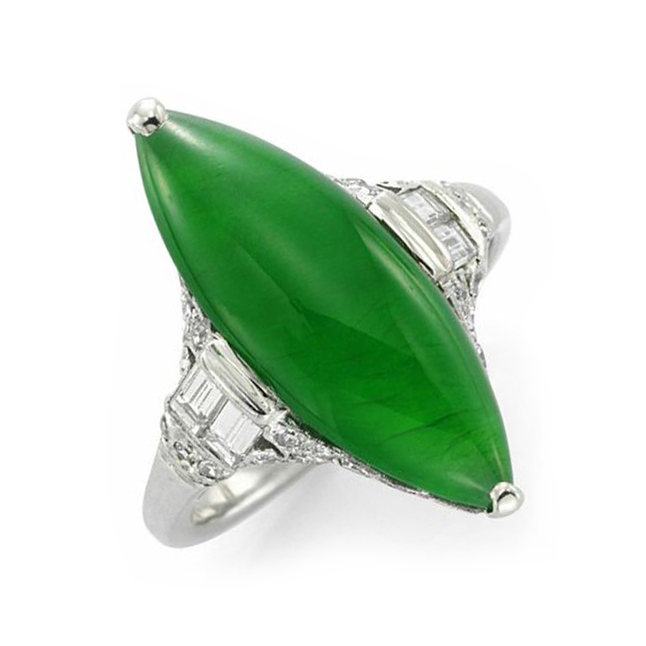 An Art Deco Natural Jade and Diamond Navette Ring, circa 1920