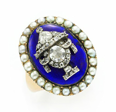 An Antique Seed Pearl, Diamond And Blue Enamel 'Memento Mori' Ring, Circa 1880