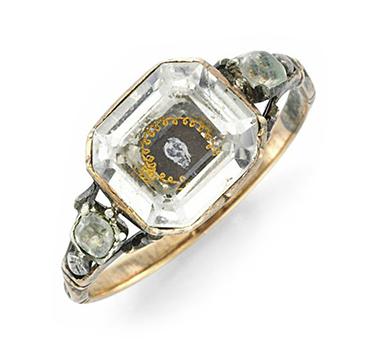 An Antique Rock Crystal And Enamel 'Memento Mori' Skull Ring, Circa 19th Century