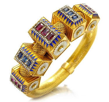 An Antique, Multi-Gem Enamel And Diamond Bracelet