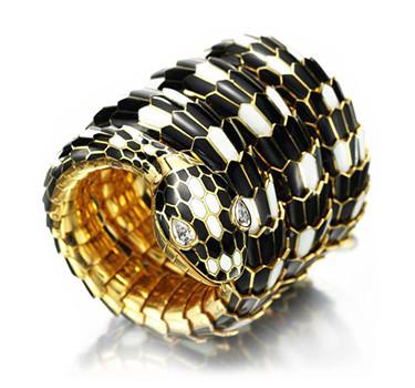 A Black And White Enamel, Gold And Diamond 'Serpenti' Wristwatch, By Bulgari, Circa 1965