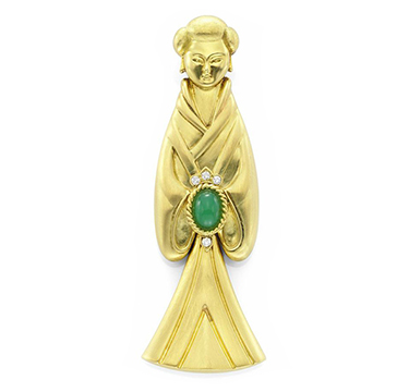 A Chrysoprase, Diamond and Gold 'Chinese Doll' Pendant, by Van Cleef & Aprels, circa 1972