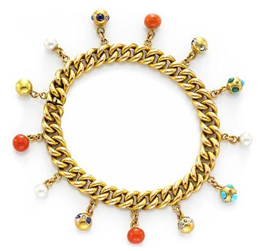 An Antique Multi-gem, Diamond and Gold Charm Bracelet, circa 1900