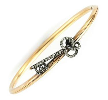 An Antique Diamond And Gold Key Bracelet, Circa 1880