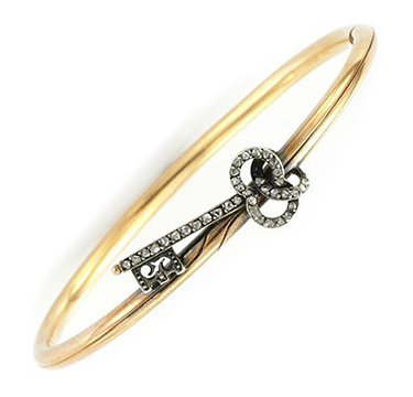 An Antique Diamond and Gold Key Bracelet, circa 1880