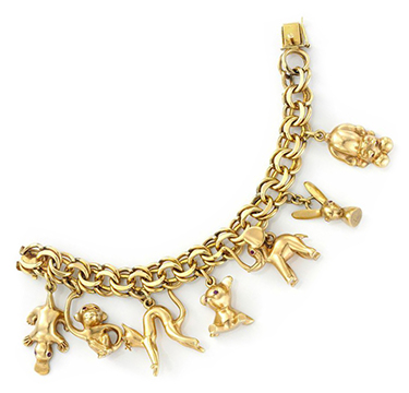 An Gold and Ruby Animal Charm Bracelet, circa 1965