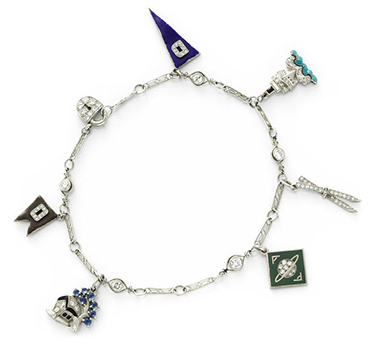 An Art Deco Enamel And Diamond Nautical Charm Bracelet, Circa 1920