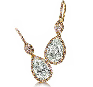 A Pair Of Fancy Light Blueish Green Diamond Ear Pendants, Of 1.99 And 2.42 Carats