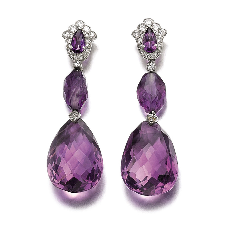 A Pair of Art Deco Amethyst and Diamond Ear Pendants, by Cartier