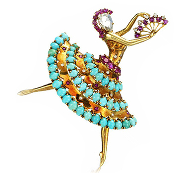 "A Diamond, Ruby And Turquoise ""Clip Danseuse"" Ballerina Brooch, By Van Cleef & Arpels"