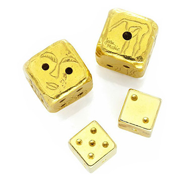 A Pair Of 22k Gold Dice, By Jean Mahie