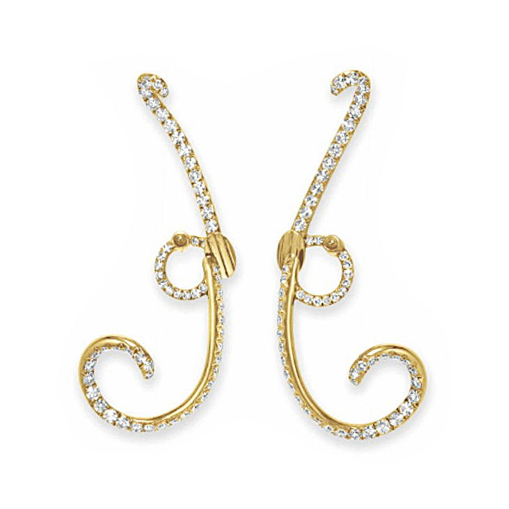 A Pair of Gold and Diamond Ear Clips, by JAR