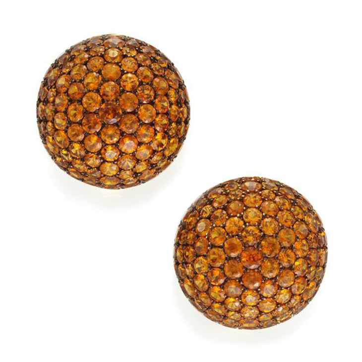 A Pair of Mandarin Garnet and Gold Ear Clips, by Hemmerle