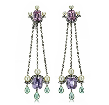 A Pair of Spinel, Natural Pearls, Tourmaline, and Diamond Ear Pendants, by Nadia Morgenthaler