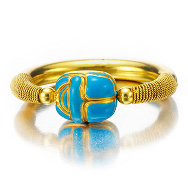 An Antique Enamel and Gold Scarab Bangle Bracelet, circa 19th Century