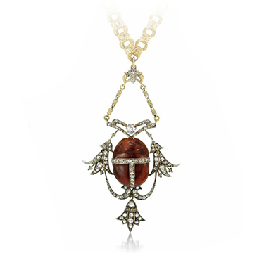 An Antique Carnelian and Diamond Scarab Pendant, 19th Century