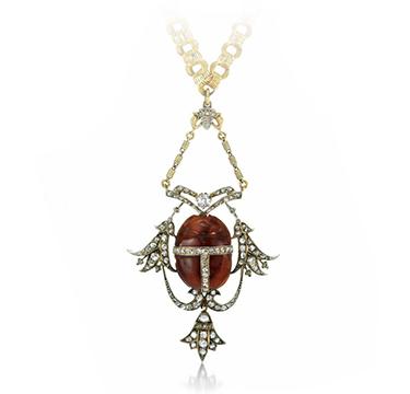An Antique Carnelian and Diamond Scarab Pendant, 19th Century