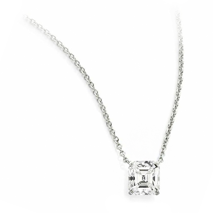 A Square-cut Diamond Pendant Necklace, of 3.26 carats, G Color, VS2 clarity