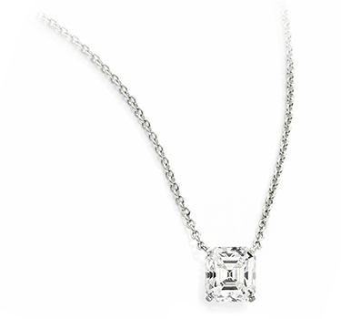 A Square-cut Diamond Pendant Necklace, Of 3.26 Carats, G Color, VS2 Clarity