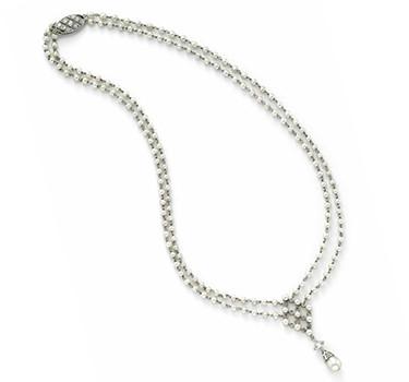 An Edwardian Natural Pearl And Diamond Necklace, Circa 1910