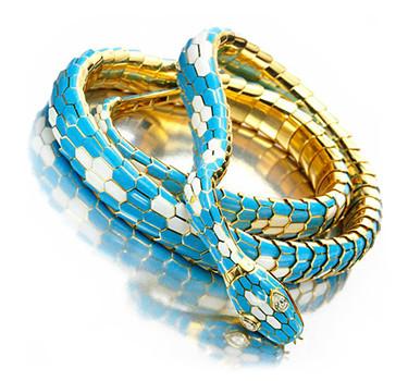 An Enamel, Diamond And Gold Snake Necklace / Belt, By Bulgari, Circa 1965