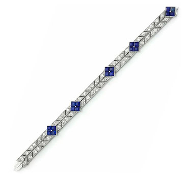 An Art Deco Sapphire And Diamond Bracelet, Circa 1925