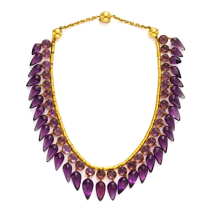 An Antique Amethyst and Gold Necklace, 19th Century