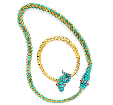 A Set Of Antique Turquoise And Gold Necklace And Bracelet, 19th Century