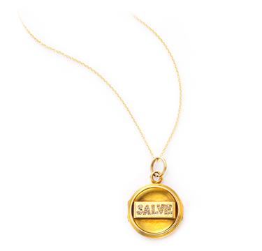 An Antique Gold and Diamond 'Salve' Locket Pendant, circa 1900
