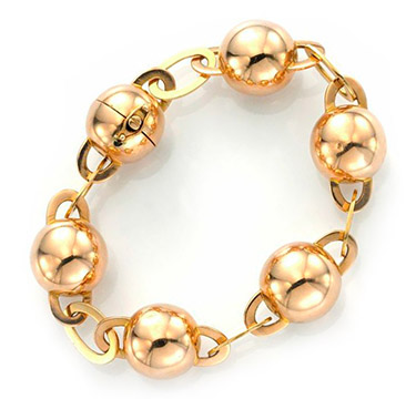An 18k Rose Gold Ball Link Bracelet, circa 1950