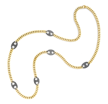 A Steel and Gold Long Chain Necklace, by Bulgari, circa 1985