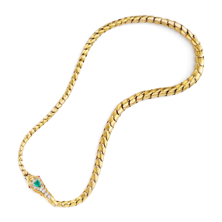 An Antique Multi-gem and Gold Snake Necklace