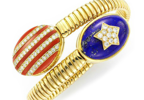 A Coral, Lapis Lazuli And Diamond 'Stars And Stripes' Bracelet, By Bulgari, Circa 1970