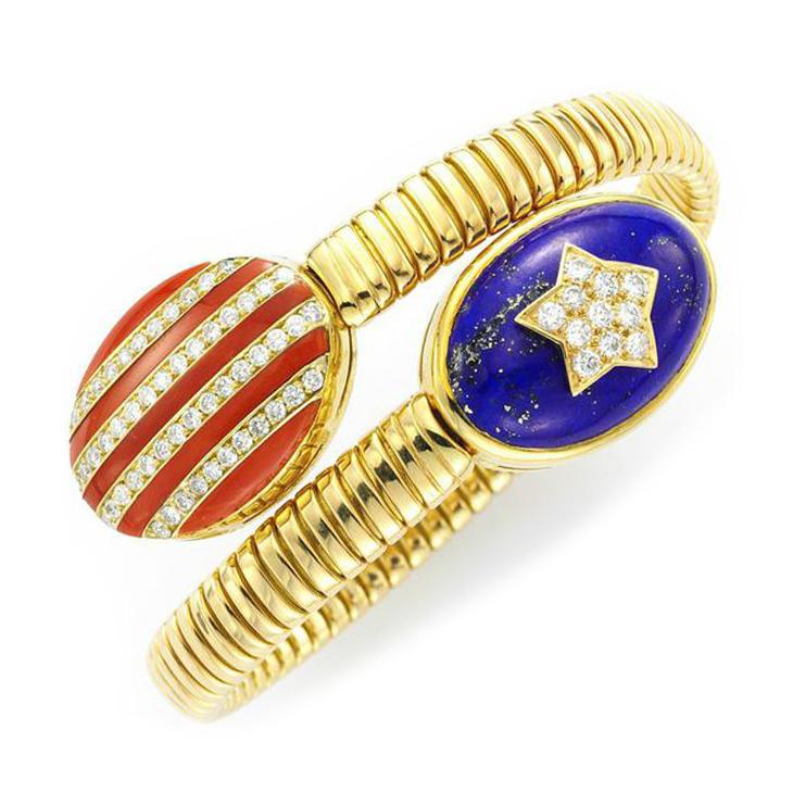 A Coral, Lapis Lazuli and Diamond 'Stars and Stripes' Bracelet, by Bulgari, circa 1970