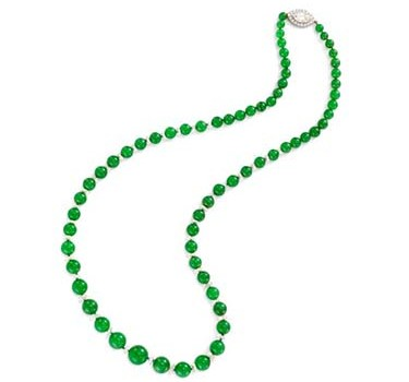 A Natural Jade And Diamond Bead Necklace