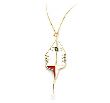 An Enamel And Gold Pendant, By Jean Cocteau