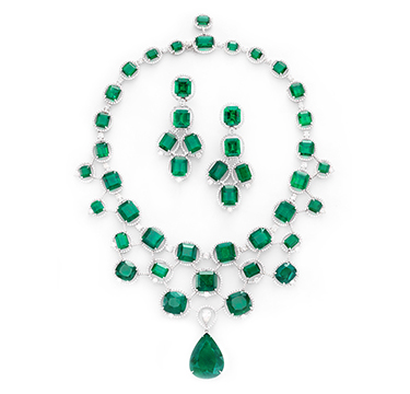 A Suite Of Colombian Emerald And Diamond Jewelry. Emeralds Weighing Approximately 300.00 Carats