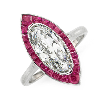 An Art Deco Ruby And Diamond Navette Ring, Circa 1920