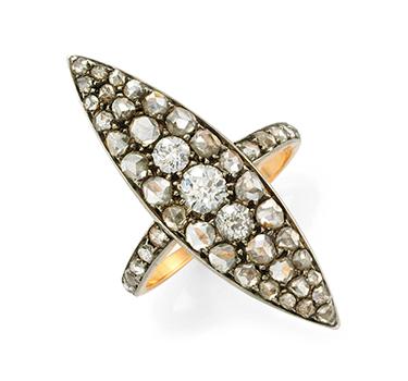 An Antique Diamond Navette Ring, Circa 1900