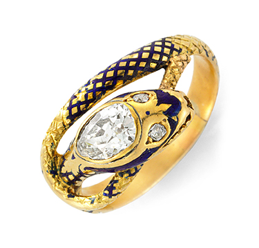 An Antique Diamond And Enamel Serpent Ring, Circa 1890